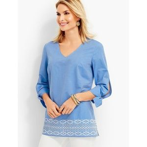 Talbots Tie-Sleeve Embroidered Eyelet Top 2X 2XP